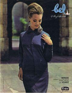 PUBLICITE ADVERTISING 094 1963 BEL cardigan à col de fourrure in Collections, Objets publicitaires, Publicités papier | eBay