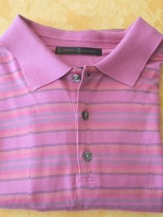 TIGER WOODS GOLF Polo SHIRT Collared XL. Lovely shade of pink with orange stripes.  Beautiful shirt. #TigerWoods #PoloRugby