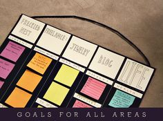 Goal setting.  Between running three kids to many activities, managing the elementary school's Yearbook content, assistant directing the school play, running a small business, and still maintaining my son's Autism recovery I need a quick way to see my goals/objectives for each area of my crazy life by week...this may be it!