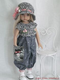 Romper set gray & pink for Effner Little Darling BJD handmade by JEC Crochet Doll Clothes, Girl Doll Clothes, Doll Clothes Patterns, Crochet Dolls, Girl Dolls, American Girl Outfits, Pretty Dolls, Beautiful Dolls, Cute Baby Dolls