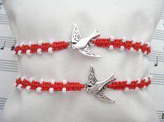 Silver bird bracelet MARTIS bracelet March bracelet by Poppyg Braided Bracelets, Cord Bracelets, Handmade Bracelets, Silver Bracelets, Friendship Bracelets, Baba Marta, Unisex Gifts, Sliding Knot, Couple Gifts