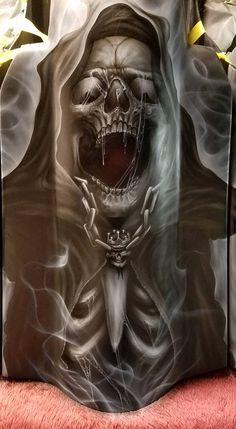 Grim Reaper Art, Grim Reaper Tattoo, Demon Tattoo, Skull Tattoos, Body Art Tattoos, Beautiful Dark Art, Skull Pictures, Skull Artwork, Dark Knight