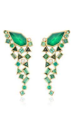 Gold struck crystal haze long green agate quartz earrings by STEPHEN WEBSTER Preorder Now on Moda Operandi