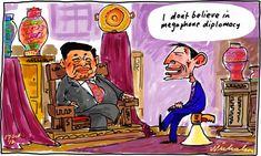 Tony Abbott no mention turning boats to SBY in talks Jakarta Indonesia megaphone cartoon 17 October 2012.