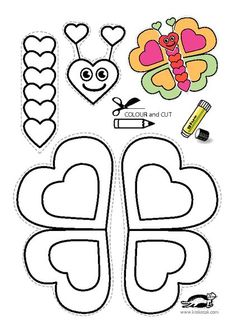 Printable color and make your own butterfly, great to include with a letter to your sponsored child(Butter Fly Printable) Mothers Day Crafts For Kids, Valentine Crafts For Kids, Valentine Day Crafts, Diy Crafts For Kids, Art For Kids, Arts And Crafts, Cutting Activities, Activities For Kids, Toddler Crafts