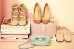 50s inspiration pale pink shoes