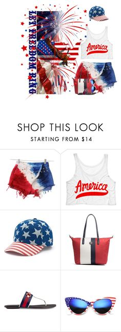 """""""4th of July"""" by denisewood ❤ liked on Polyvore featuring Mudd, Tommy Hilfiger, Gucci and ZeroUV"""