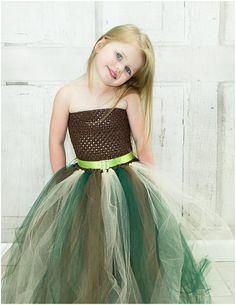 Newborn  Size 9 Camo Flower Girl Tutu Dress by krystalhylton
