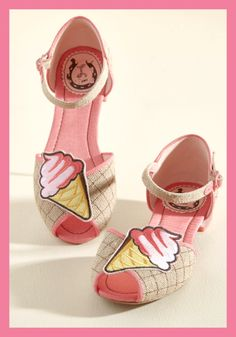 Ice Cream Cone Peep Toe Flats - Super cute sandals with glittery mini heels, gridded waffle cone look uppers, pink piping, and an applique at toe, these cool summer treat shoes appeal to sweet tastes. Adorable cartoon kawaii dessert humor inspired design. ice cream clothes, ice cream clothing, ice cream lover gift. Cone and Get It Peep Toe Flat at Modcloth - This is an affiliate link.