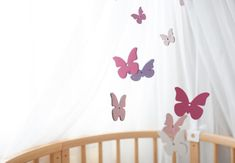Pink Butterfly baby mobile Butterfly décor by CuteBabyMobile