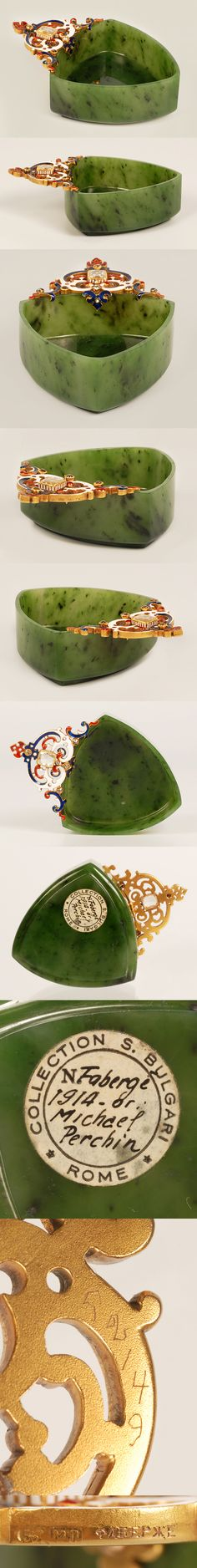 An extremely rare Faberge nephrite kovsh with an enamel and jeweled mount, workmaster Michael Perchin, ST Petersburg, circa 1890 with scratched inventory number 52149. Of rounded triangular form, carved of nephrite with a stepped base, mounted with an openwork handle of scrolls in red, blue, and white enamel, set with five small diamonds and a large central diamond.