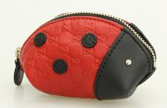 Gucci by GUCCI micro guccissima Ladybug coin purse coin put red x black 282640 beauty products