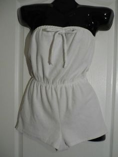Vintage One Piece Romper Shorts Tube Top White Terrycloth XS | eBay
