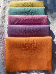 5 ANTIQUE FRENCH RAINBOW COTTON LINEN MONOGRAM CD NAPKINS HAND DYE GAY COLOR WOW