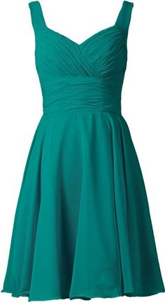 ANTS Women's V-neck Chiffon Bridesmaid Dresses Short Prom Gown Size 2 US Teal