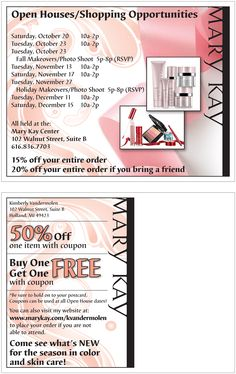 Multiple projects for a Mary Kay Independent Consultant.