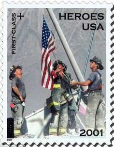 IMAGE: Postage stamp of 9/11 flag photo