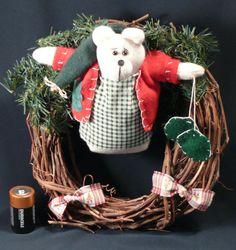 Wreath Bear Door Wall Twig Montana Winter handmade mittens hat 11 inch cabin #Unbranded