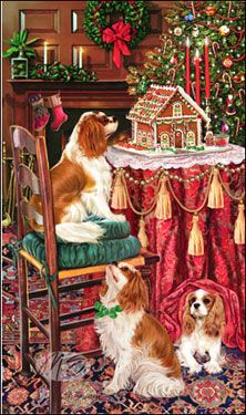 Cavalier King Charles Christmas cards are 8 x 5 and come in packages of 12 cards. One design per package. All designs include envelopes, your personal message, and choice of greeting.