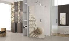 paroi de douche avec peinture sur verre Novellini Kuadra H in art modèle sable