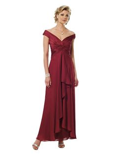 Elegance defined is this tip-of-the-shoulder gown with draped skirt. Satin faced chiffon. Tip-of-the-shoulder A-line dress with wide V-neckline, directionally ruched empire bodice features knotted detail. Bias-cut draped layered skirt.