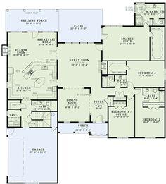 Interesting kitchen/keeping room/breakfast nook layout. Plan W60534ND: Gourmet Kitchen