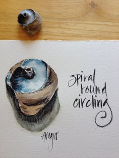 Spiraling Around Snail Shell Watercolor I painted this one down in Capitola, CA in July.   https://www.etsy.com/listing/198182533/spiraling-around-snail-shell-watercolor?ref=shop_home_active_6