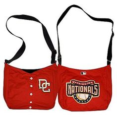 "Washington Nationals  Jersey Tote Bag 15"" x 4"" x 13"" by Little Earth. $19.99. Littlearth's MLB totes, made from authentic jersey material, take the style of your favorite team's jersey and transform it into a stylish purse.  This tote bag is fully lined with an interior patch pocket and a magnetic snap closure to safely store your belongings. The adjustable strap can be worn at a drop length of 16 to 22 inches.  Finally, a fashionable, functional accessory..."