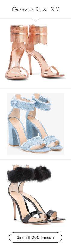 """Gianvito Rossi  XIV"" by bianca-cazacu ❤ liked on Polyvore featuring shoes, sandals, multi-strap sandals, zipper sandals, metallic sandals, pointed toe sandals, patent leather shoes, block heel sandals, blue denim shoes and denim sandals"