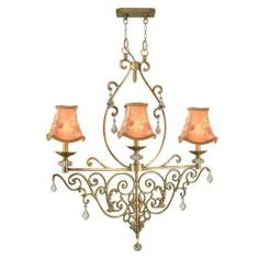 Tiffany Ashbee 3-Light Hanging Antique Brass Chandelier-SRH11054 at The Home Depot