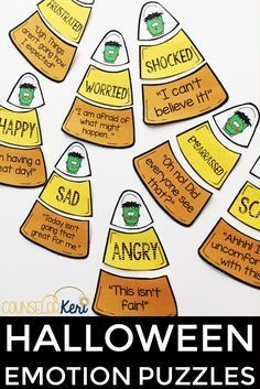 Halloween activity for elementary school counseling: feelings puzzles! Students match feeling faces with emotions words and statements. Great for individual counseling, small group counseling, and classroom guidance lessons! Social Emotional Activities, Counseling Activities, Group Counseling, School Counseling, Therapy Activities, Therapy Ideas, Play Therapy, Speech Therapy, Therapy Games
