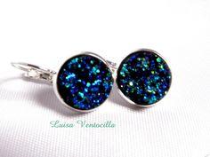 Cabochon Brisuren ♥Vulkan in Blau♥ 12 mm. von Luisa Ventocilla Shop auf DaWanda.com