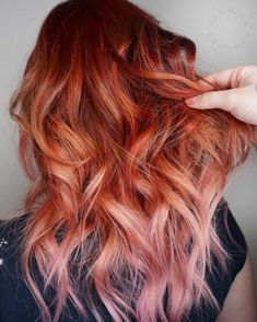 Copper pink hair brown ombre hair, ginger hair, behind the chair, balayage, Ginger Hair Dyed, Ginger Ombre, Pink Ombre Hair, Brown Ombre Hair, Feathered Hairstyles, Cool Hairstyles, Latest Hairstyles, Copper And Pink, Copper Ombre