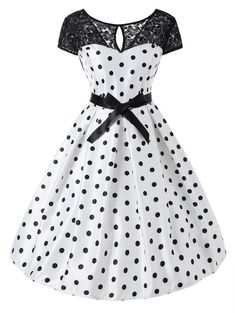 Polka Dot Lace Panel Short Sleeve Dress : Cheap Fashion online retailer providing customers trendy and stylish clothing including different categories such as dresses, tops, swimwear. Vintage Dresses Online, 50s Dresses, Pretty Dresses, Vintage Outfits, Dress Outfits, Fashion Outfits, Cheap Fashion, Women's Fashion, Fashion Trends