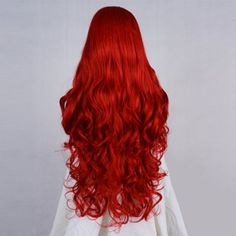 Synthetic 28 Inches Long Red Curly Women Lace Front Wig With Free Wig Cap…