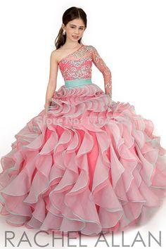 Especial muti 5 clored Pageant vestido de princesa drapeado e flor meninas vestido de baile em Vestidos de Dama de Honra de Casamentos e Eventos no AliExpress.com | Alibaba Group