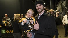 Adam McQuaid and little fan, who was an honorable guest for the night.