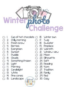 Winter Photo Challenge - 30 Day Challenge Ideas with free printables - Natural Beach Living