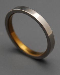 Slim Bronze Titanium Wedding Mens Bands