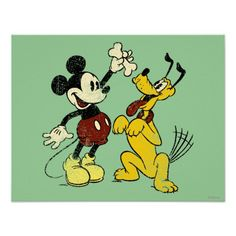 Vintage Mickey Mouse and Pluto Poster Mhm @Stephanie Stevens