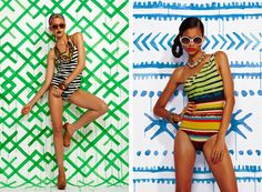 hand-painted backdrops that artist/illustrator Keren Richter did for a Refinery29 swimsuit shoot in July 2010. Idea 6.