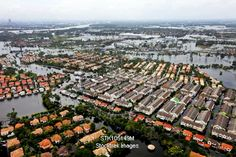 Aerial view of flood waters affecting an area of Thailand.