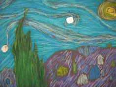 Mini Starry Night Lesson for 4th Grade. Learn to blend oil pastels. Make famous painting your own. 1 day project.