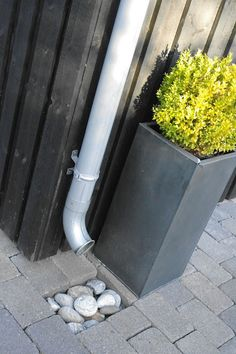 Traditional downspout with pebble infiltration pad