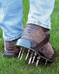 Buy your one size fits all lawn aerator sandals. Just strap on these lawn aerator sandals and get to work.