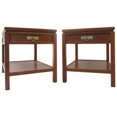 Pair of Blond Mahogany Side Tables or Nightstands | From a unique collection of antique and modern night stands at https://www.1stdibs.com/furniture/tables/night-stands/