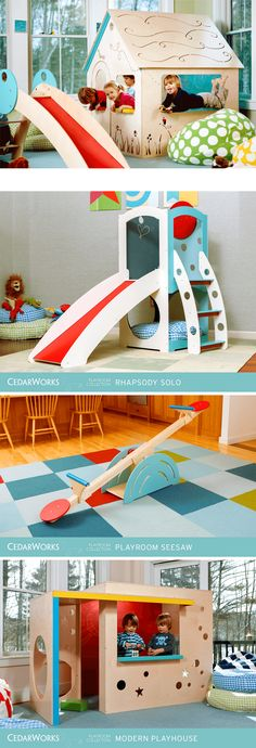 I'm particularly fond of the Modern Playhouse, but all of these are great looking pieces to add to a kids room or play area. From the Playroom Collection by CedarWorks. Made in Rockport, Maine and designed to last. Kids Indoor Playhouse, Build A Playhouse, Modern Playhouse, Indoor Playroom, Modern Playroom, Playhouse Ideas, Playroom Design, Playroom Ideas, Playground Design