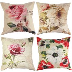 Vintage Rose Flower Floral Cushion Cover Linen Throw Pillow Case Home Decor 17
