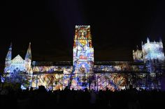 The story of the birth of modern cosmology from the 12th century until the present day was told in a stunning son et lumiere for the façade of Durham Cathedral.  The World Machine: Ross Ashton, John Del Nero, Isobel Waller-Bridge, Carlos Frenk and Richard Bower. (UK & Mexico)     Lumiere Durham 2015     Photo by Matthew Andrews