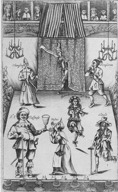 1662 frontispiece to the play The Wits, illustrating some common stock characters